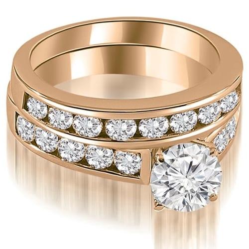 2.85 cttw. 14K Rose Gold Cathedral Channel Set Round Cut Diamond Bridal Set