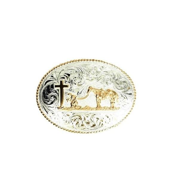 Crumrine Western Belt Buckle Oval Pray Cowboy Silver Gold - 3 x 4