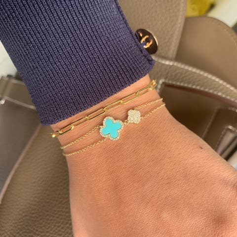 Flower Bracelet Turquoise & Diamond 14K Yellow Gold by Joelle Collection