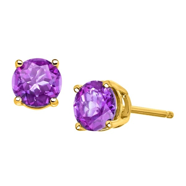 3/4 ct Natural Round-Cut Amethyst Stud Earrings in 10K Gold - Purple