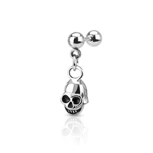 "Surgical Steel Skull Dangle Cartilage and Tragus Barbell - 16GA 1/4"" Long (Sold Ind.)"