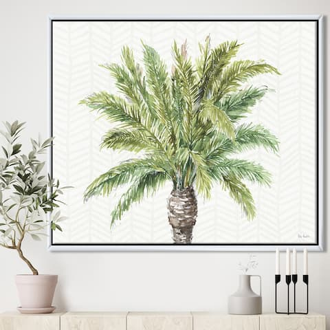 Silver Orchid 'Mixed Botanical Greens palms IV' Farmhouse Framed Canvas - Green