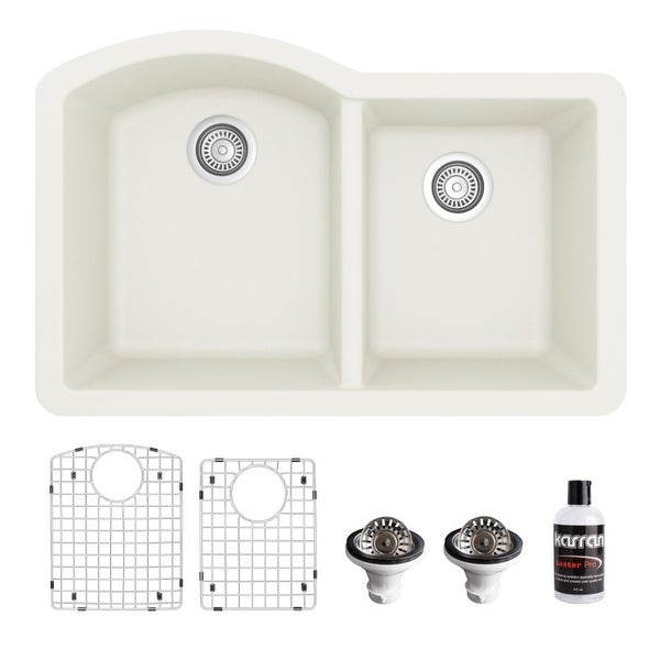 Karran Undermount Quartz 32 in. 60/40 Double Bowl Kitchen Sink Kit. Opens flyout.