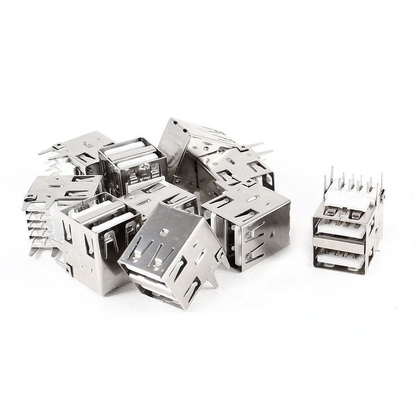 Unique Bargains Type A Dual USB 2.0 4 Pin Female Connectors Jacks Replacement 10 Pcs