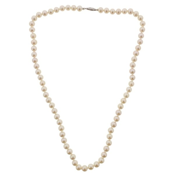 Unique Pearl Womens Necklace Freshwater Pearl AAA Quality - white gold