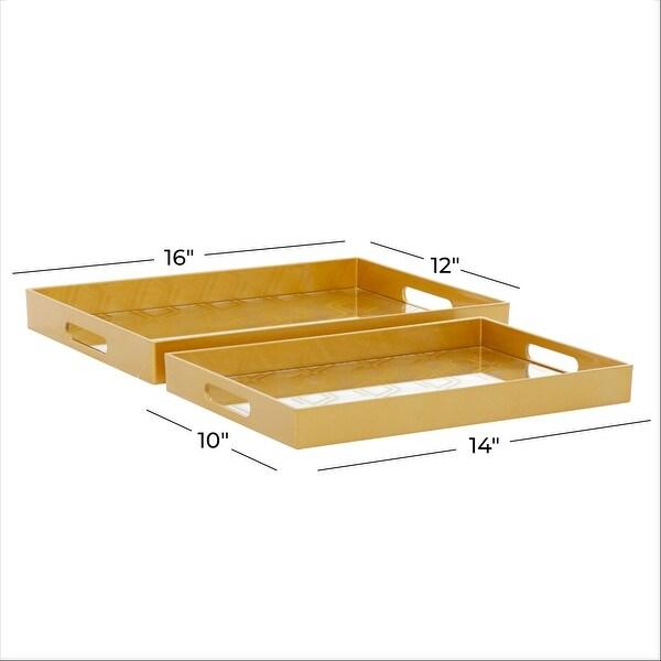 Gold Polypropylene Glam Tray (Set of 2) - 14 x 10 x 2
