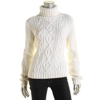 Lauren Ralph Lauren Womens Cable Knit Turtleneck Pullover Sweater