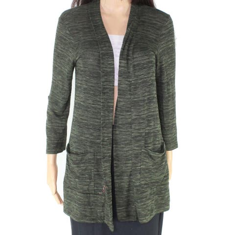 Bobeau Women's Green Size Medium M Space Dye Open Cardigan Sweater