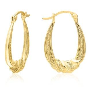 Mcs Jewelry Inc 14 KARAT YELLOW GOLD OVAL TWISTED HOOP EARRINGS