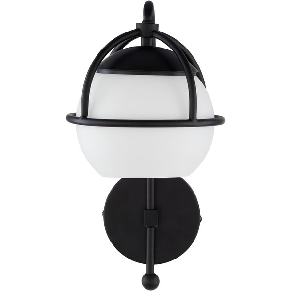 """13.5"""" Black and Clear Painted Glass 1-Light Glass Wall Sconces - N/A"""