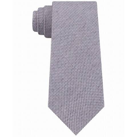DKNY Men's Slim Micro-Textured Silk Tie Gray Size Regular