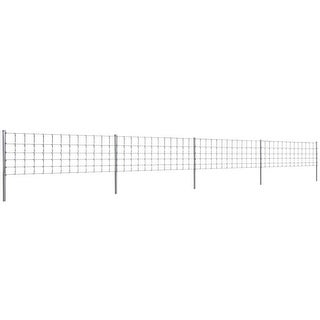 vidaXL Step-In Fence 164' with Posts Galvanized Wire 31.5/6/11.8