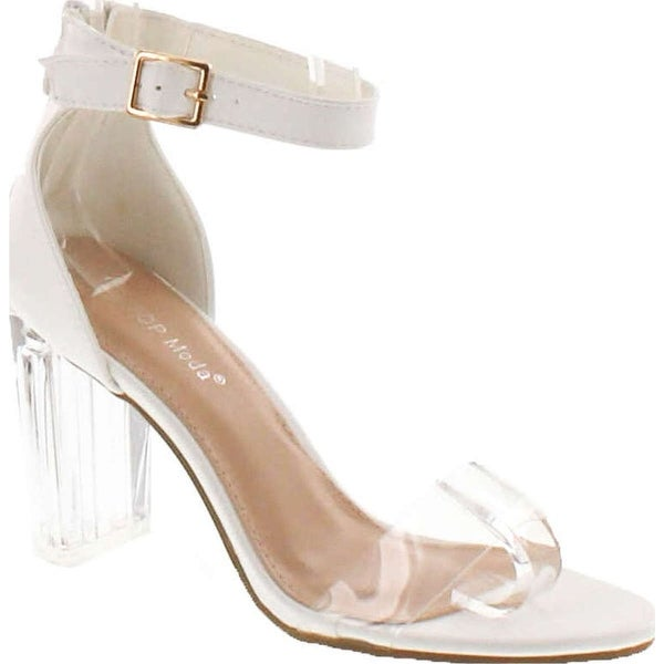 Top Moda Women's Alma-55 Lucite Clear Strappy Block Chunky High Heel Open Peep Toe Sandal