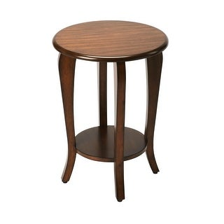 Offex Transitional Solid Mahogany Wood Plantation Cherry Round End Table - Dark Brown