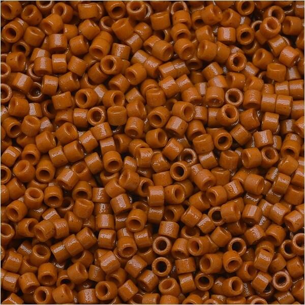 Miyuki Duracoat Delica, Japanese 11/0 Seed Beads, 7.2g Tube, Opaque Persimmon Orange DB2108