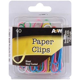 Giant Vinyl Coated-Assorted Colors 40/Pk - Paper Clips