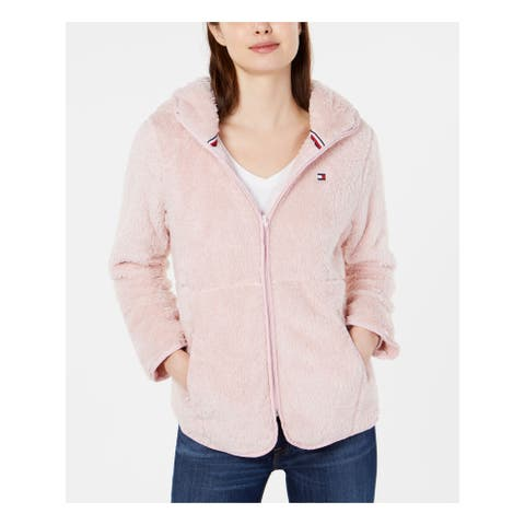 TOMMY HILFIGER Womens Pink Long Sleeve Hoodie Zip Up Coat Size L
