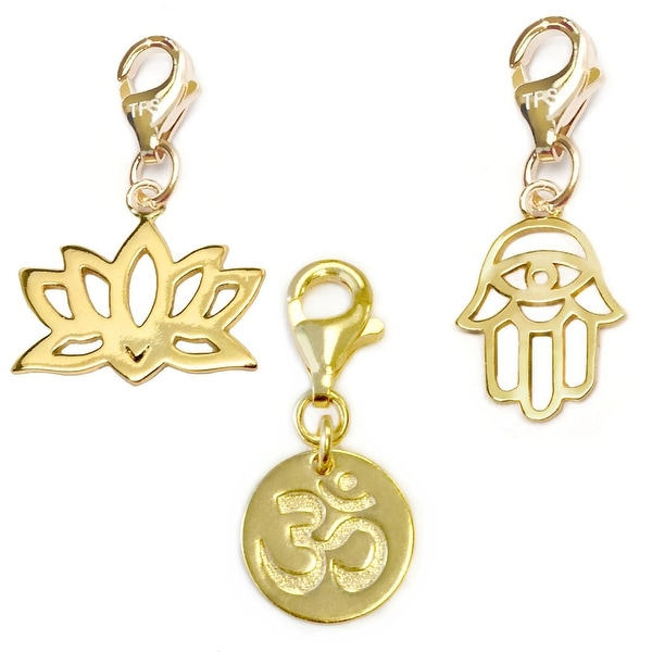 Julieta Jewelry Om, Lotus Flower, Protection Hand Gold Over Sterling Silver Charm Set