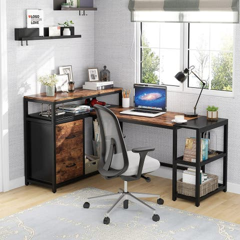 """63"""" L Shaped Desk with Storage Shelves and Drawer, L Desk with File Cabinet for Home Office"""