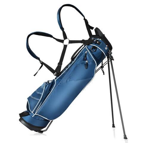 Gymax Blue Golf Stand Cart Bag Club with Carry Organizer Pockets Blue