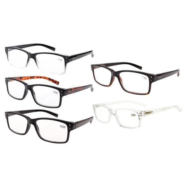 Eyekepper 5-pack Spring Hinges Vintage Reading Glasses Men Readers(One for each color,+3.50)