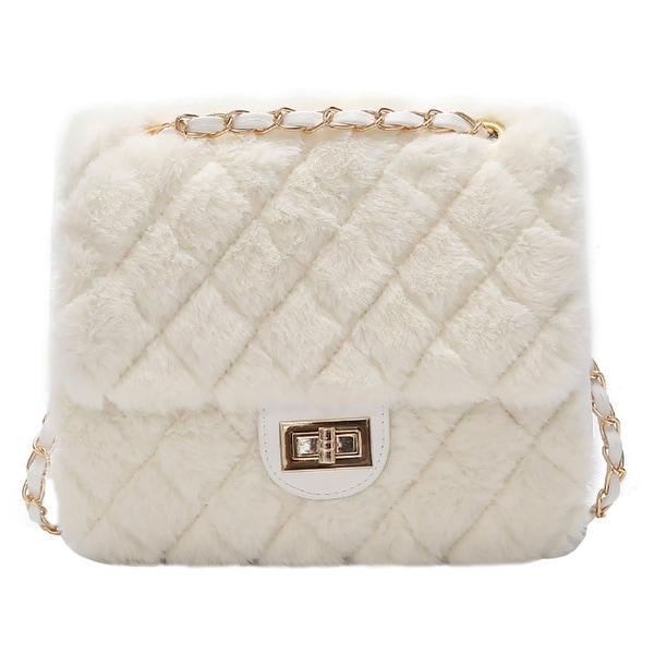 c60b1370a3c QZUnique Women  x27 s Faux Fur Envelope Shoulder Bag Crossbody Purse Fluffy  Handbag