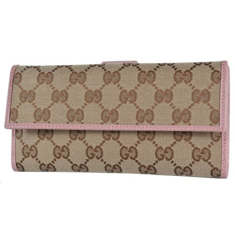 """Gucci Women's 231841 Beige Pink GG Guccissima Continental Wallet W/Coin - 7.5"""" x 4"""""""