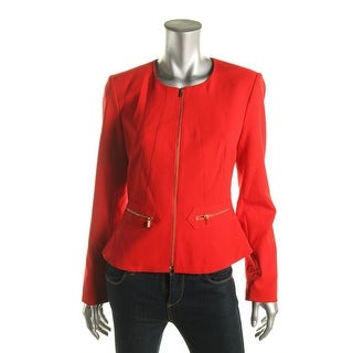 Calvin Klein Womens Zip-Front Peplum Jacket