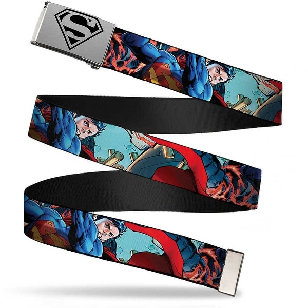 Superman Shield2 Brushed Silver Black Cam Chrome New 52 Superman 1 Web Belt