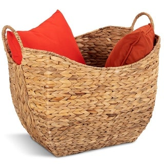 Costway Large Woven Seagrass Storage Basket Wicker Pattern Baskets Handles Organizer - natural color