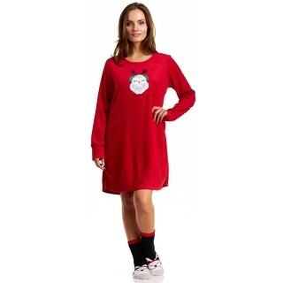 Rene Rofe Pillow Talk Oh What Fun Sleep Shirt With Socks - Red
