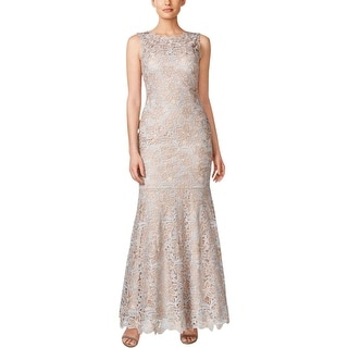 Calvin Klein Womens Evening Dress Lace Overlay Sleeveless