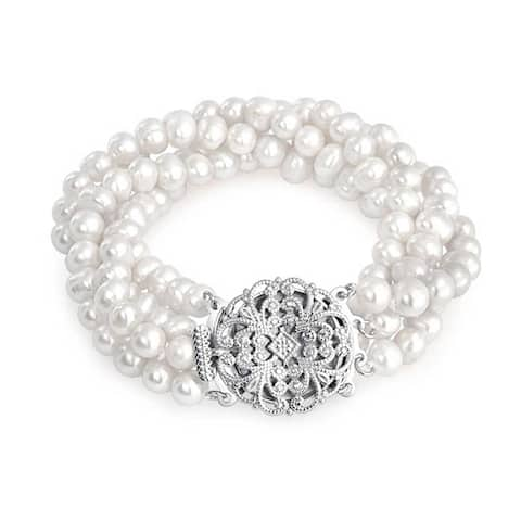 Vintage Style Bridal Four Strand Twist White Freshwater Cultured Pearl Bracelet For Women For Prom Silver Plated Brass