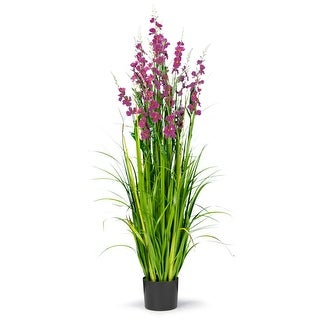 5 Feet High Artificial Reed with Decorative Dark Mauve Flowers