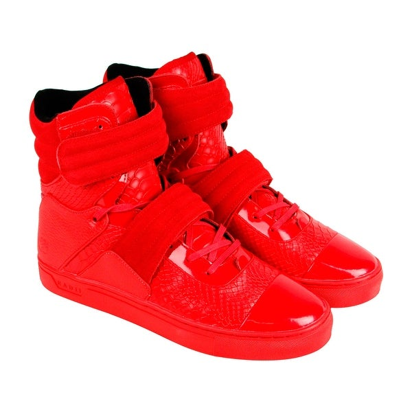 c0c8cba5ee26 Shop Radii Cylinder Mens Red Patent Leather High Top Lace Up ...