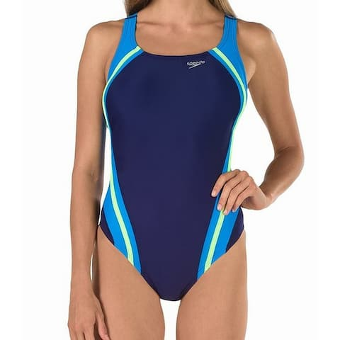 Speedo Starry Blue White Women's Size 8 Racerback One-Piece Swimwear