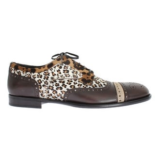 Dolce & Gabbana Brown Leather Pony Hair Oxford Shoes
