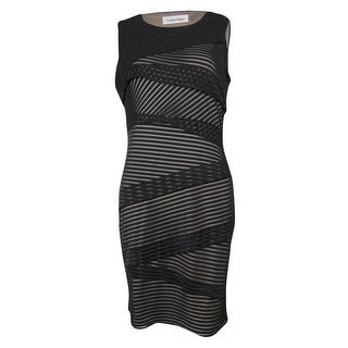 Calvin Klein Women's Tiered Mesh Striped Sheath Dress