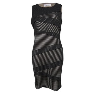 Calvin Klein Women's Tiered Mesh Striped Sheath Dress - 8