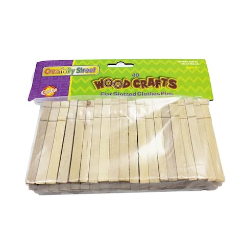 Wooden Flat Slotted Clothespin 40Pk