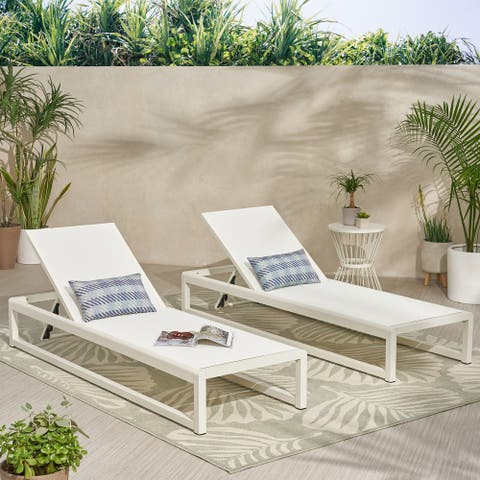 """Modesta Outdoor Mesh Chaise Lounges (Set of 2) by Christopher Knight Home - 76.50"""" W x 25.50"""" D x 11.50"""" H"""