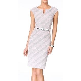 Connected Apparel NEW Pink Women Size 8 Sheath Shimmer Split-Neck Dress