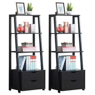Costway Set of 2 Ladder Shelf 4-Tier Bookshelf Bookcase Storage Leaning With 2 Drawers