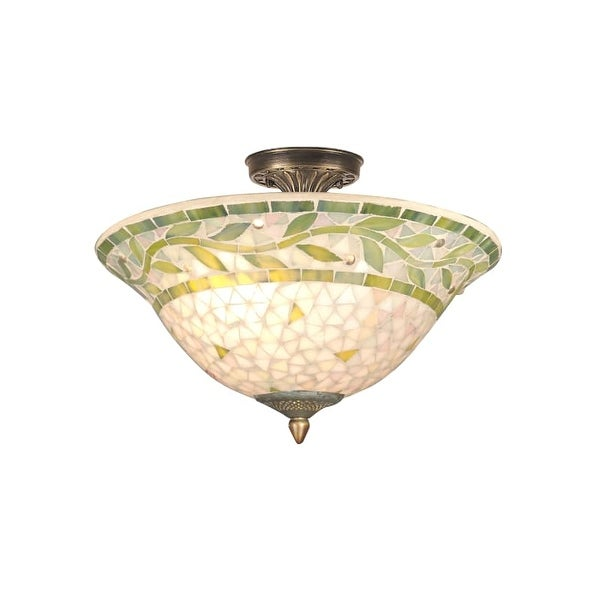 Dale Tiffany TH70655 3 Light Mosaic Semi-Flush Fixture with Mosaic Shade