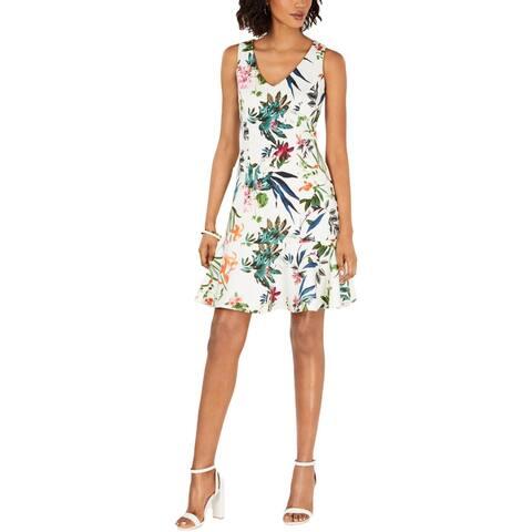 Taylor Womens Petites Cocktail Dress Floral Mini - Ivory Multi - 2P