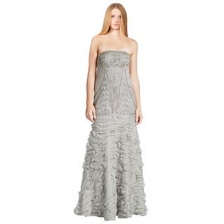 Sue Wong Extravagant  Strapless Chiffon Ribbon Beaded Gown Dress