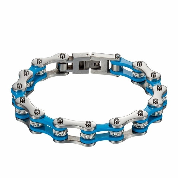 New Blue White Motorcycle Link Chain Bracelet Stainless Steel Custom Style 8.5 Inch