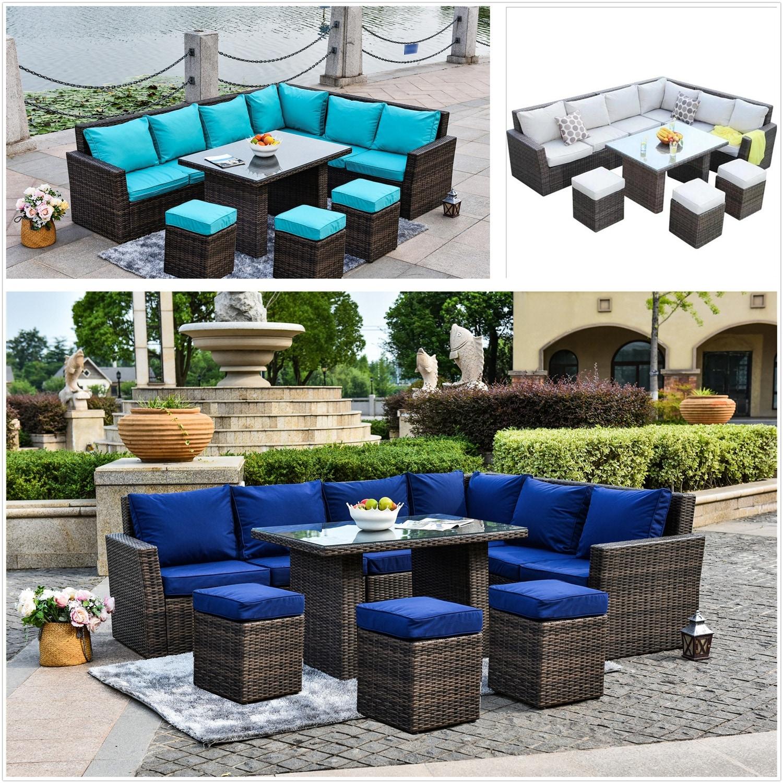 Attach 9 Colors Cushion Cover Outdoor Patio Garden Furniture Wicker Sofa  Set wish Cushions