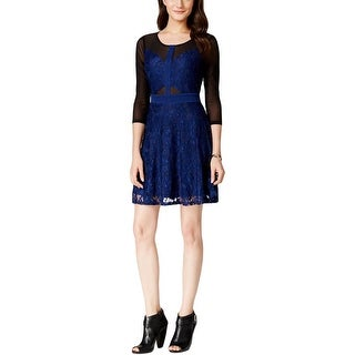 Material Girl Womens Juniors Party Dress Mixed Media Cut-Out - S