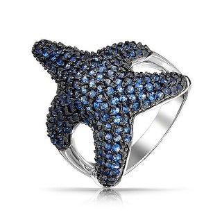 Nautical Cubic Zirconia Pave Navy Blue CZ Large Statement Starfish Ring For Women Pave Black Silver Plated Brass